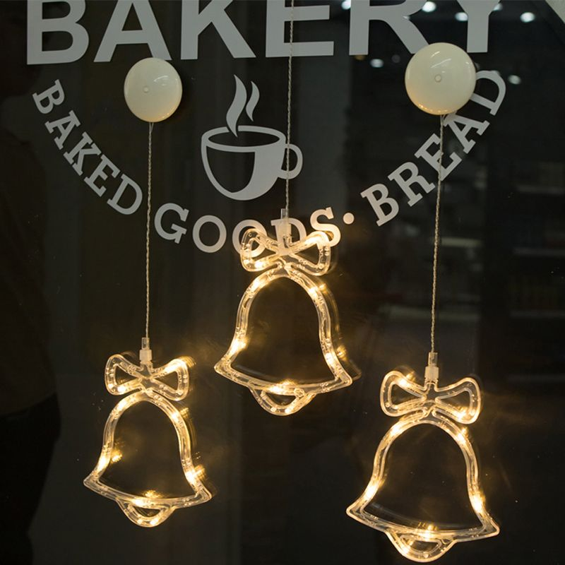 Xmas LED String Lights Window Glass Sucker Lamp Deer Bell Snowman Home DECOR