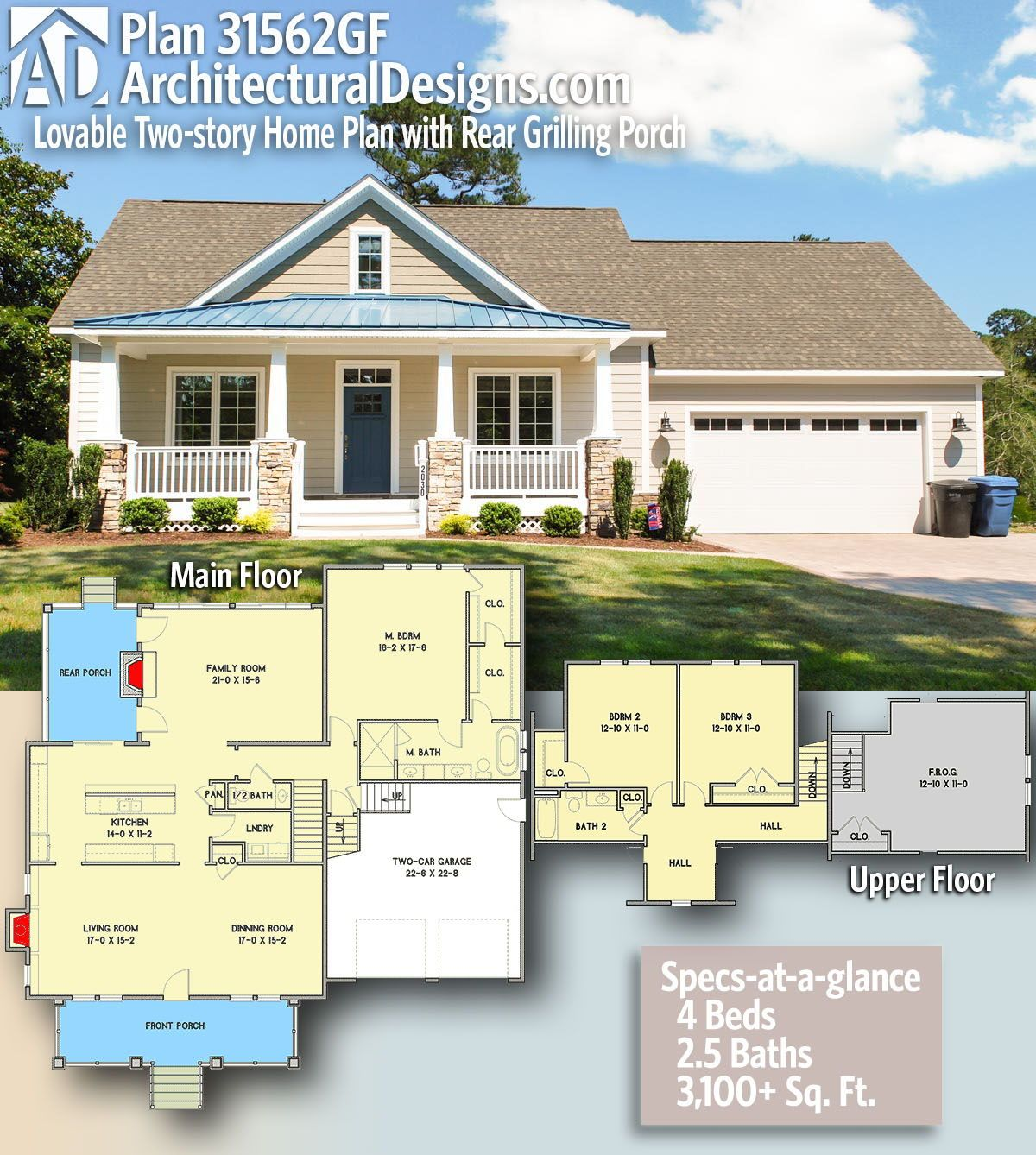 Plan 31562gf Lovable Two Story Home Plan With Rear Grilling Porch House Plans Bungalow Style House Plans How To Plan