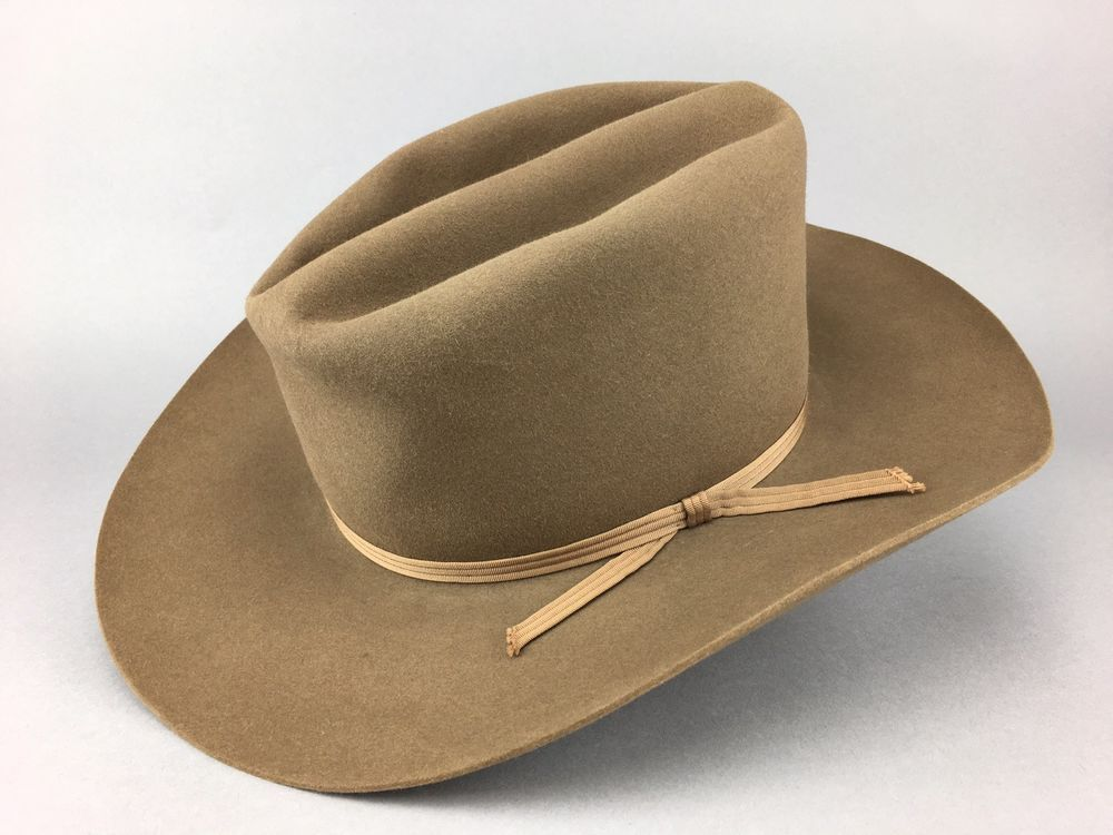 0c2a9fb392f Vintage Early Stetson Brown Nutria Fur Felt Western Cowboy Hat size 7 1 4