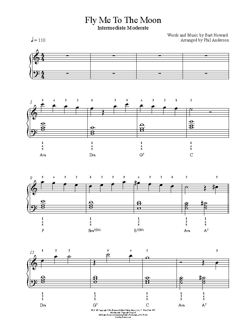 Fly Me To The Moon By Frank Sinatra Piano Sheet Music Intermediate Level Piano Sheet Music Sheet Music Clarinet Sheet Music