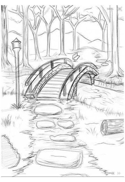 nature drawing landscapes step by step