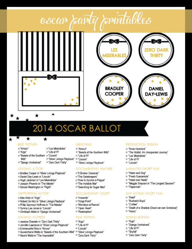Oscar Party Printables - wine tags, tent menu cards and Oscar Ballot