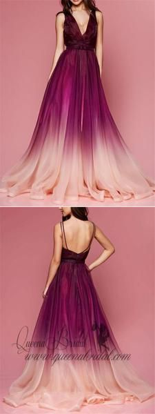 Photo of Maroon Ombre Prom Dresses V Neck Cheap Long Formal Dresses for Women, QB0316 – long prom dresses