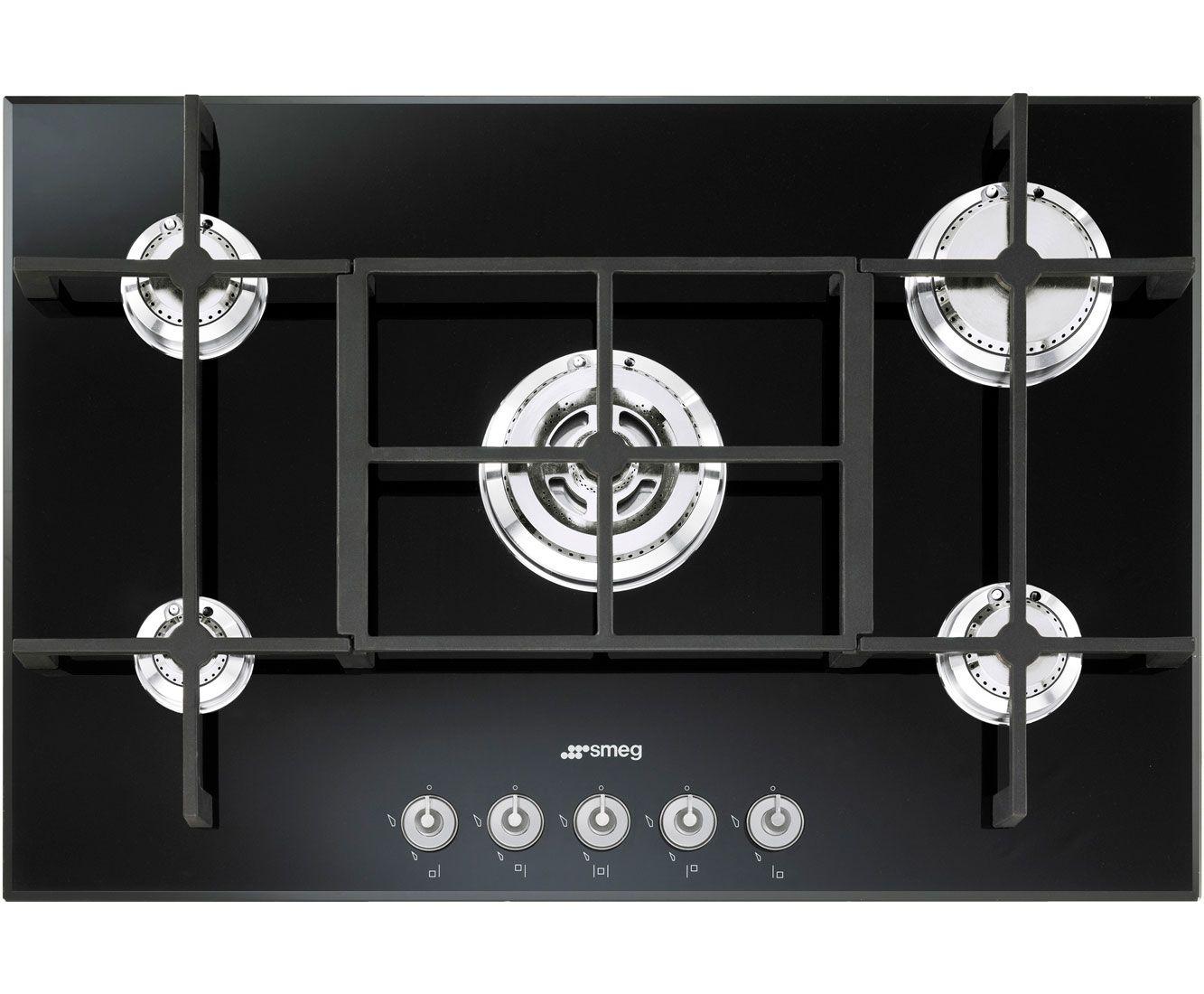 Smeg Pv750n Built In Gas Hob Black Glass Hobs Kitchen Appliances White Kitchen Appliances