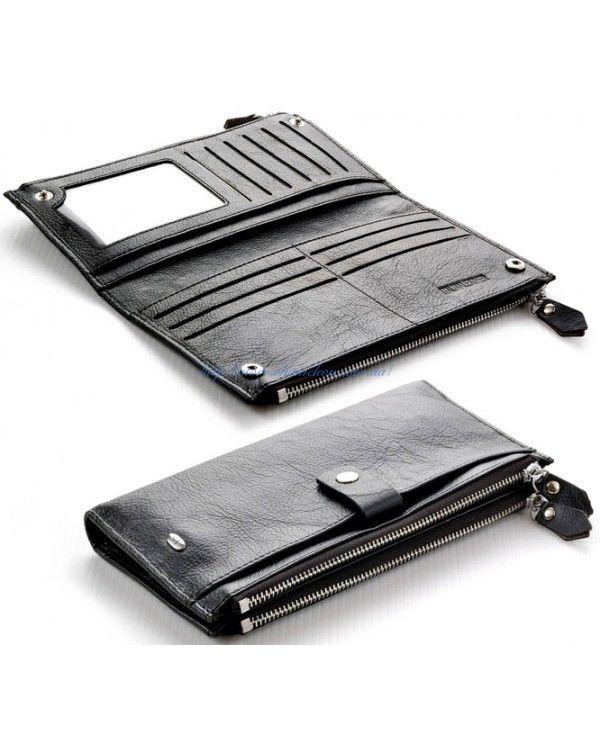 b38847001a0a Женский кожаный кошелек визитница две молнии ST с ремешком вместительный