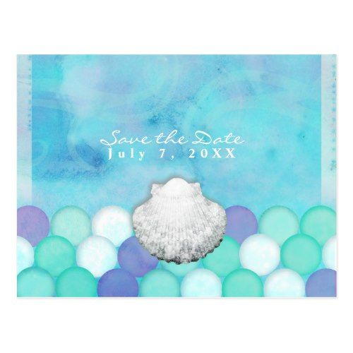 Watercolor Mermaid Scales Party Save the Date Postcard Mermaid and
