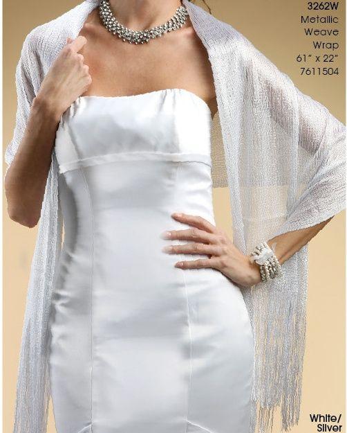 White Silver Wedding Shawl Metallic Weave Wrap Bridal Apparel Gown Bridesmaid