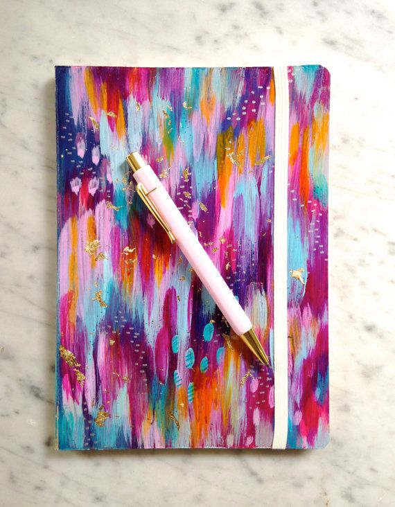colorful hand painted journal notebook 5.75x8.25 by EttaVeeStudio