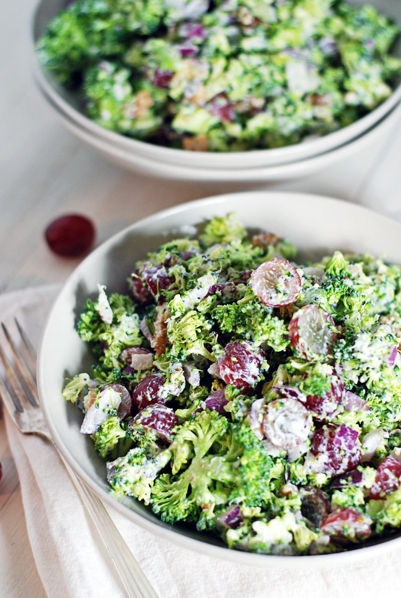 Broccoli chopped salad with creamy lemon poppy seed