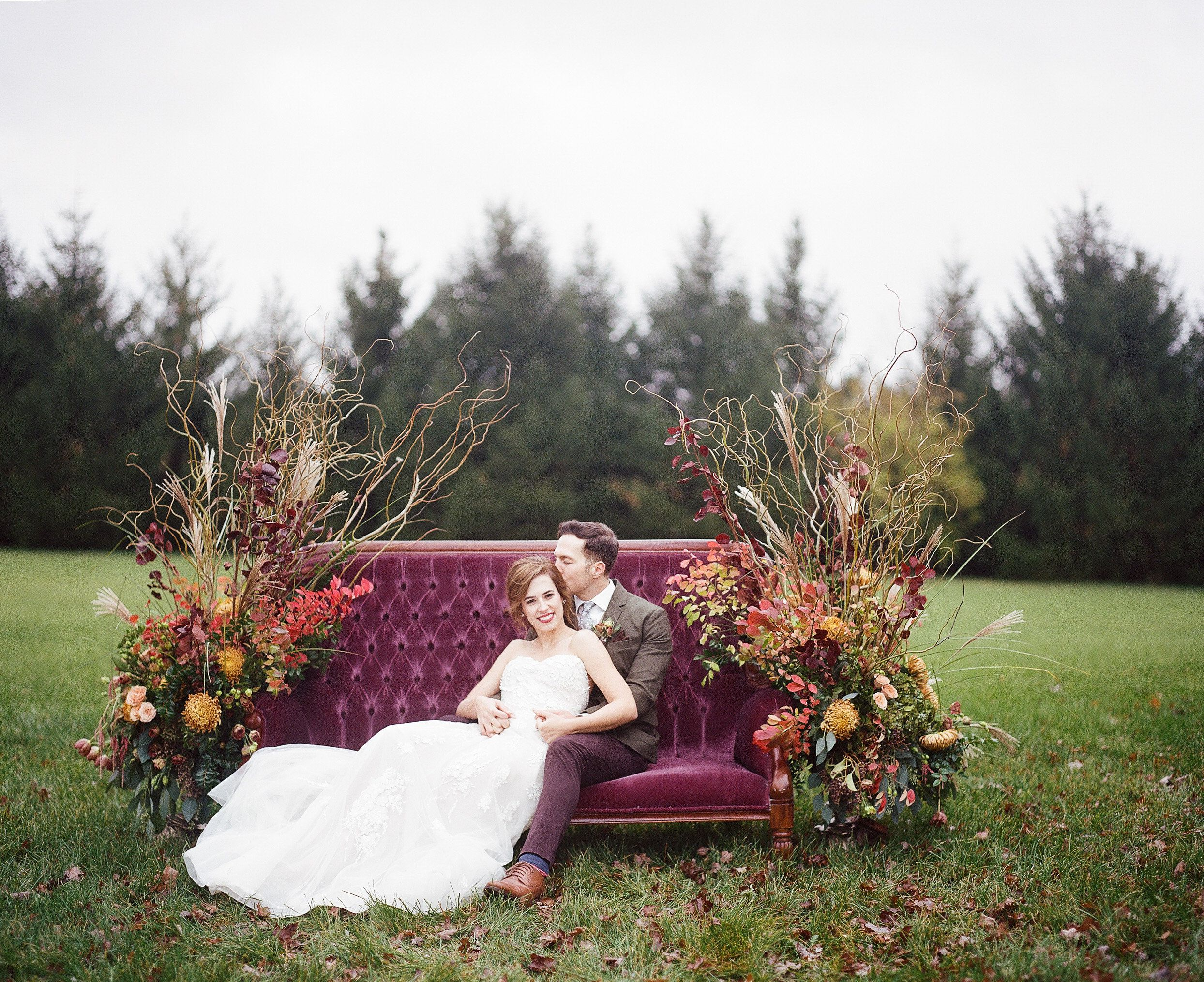 Lost And Found Vintage Rentals Dayton Ohio Our Vivian Sofa Being Used For Bridal Portraits Outdoor Fall Wedding Wedding Venue Decorations Outdoor Wedding