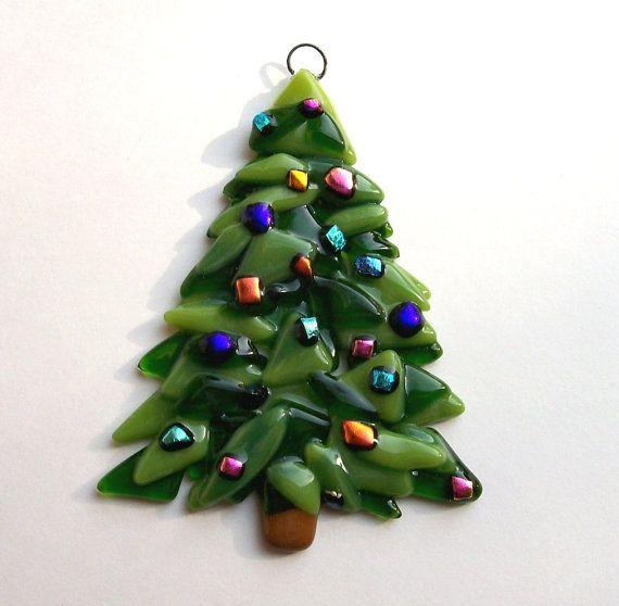Fused Glass Christmas Ornament (Christmas Tree
