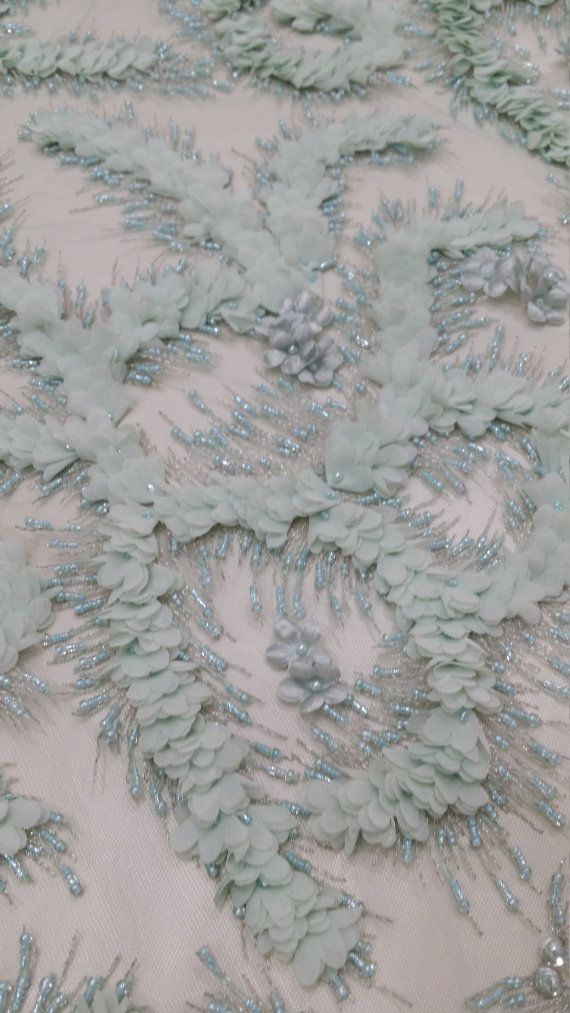 Beaded Mint lace fabric Wedding Embroidered Floral lace Sequin French lace
