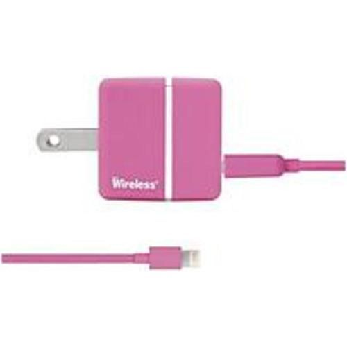 Justwireless 705954042747 4274 AC Wall Charger with USB, Lightning Cable - Pink