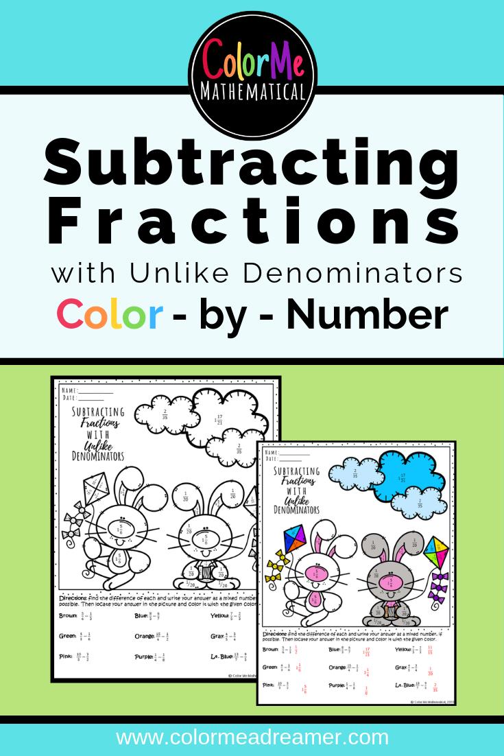 Subtracting Fractions With Unlike Denominators Spring Bunnies Elementary School Math Subtracting Fractions Subtraction [ 1102 x 735 Pixel ]