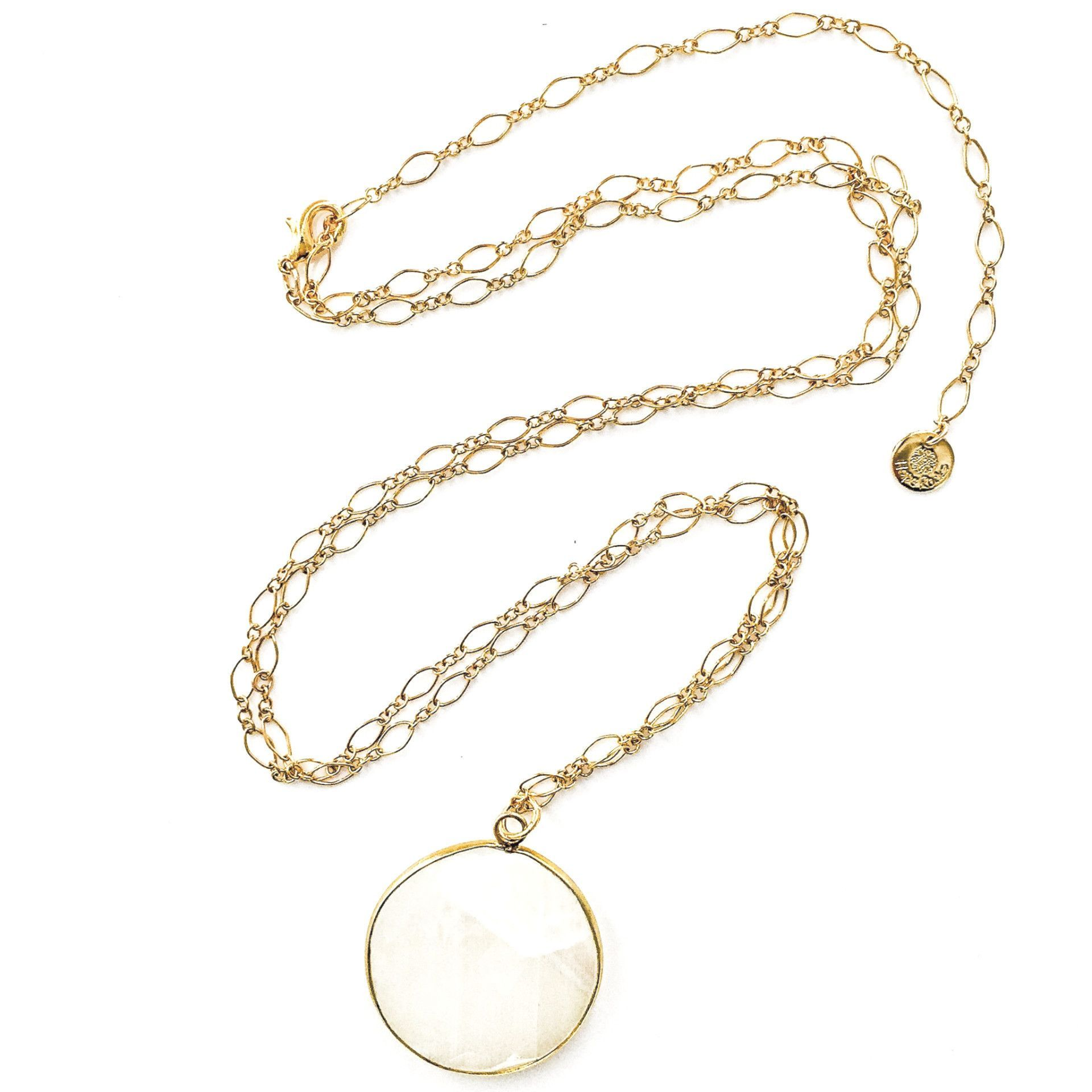 Moonstone and Gold Pendant Necklace