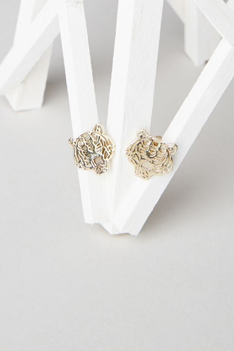 321b8e7da32 New Arrival : Mini Tiger Earrings with diamond eyes - Available in Silver,  Gold plated and Pink Gold plated