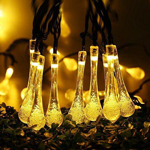 Solar String LightsCovboa 20ft 30 LED Water Drop Solar Lights