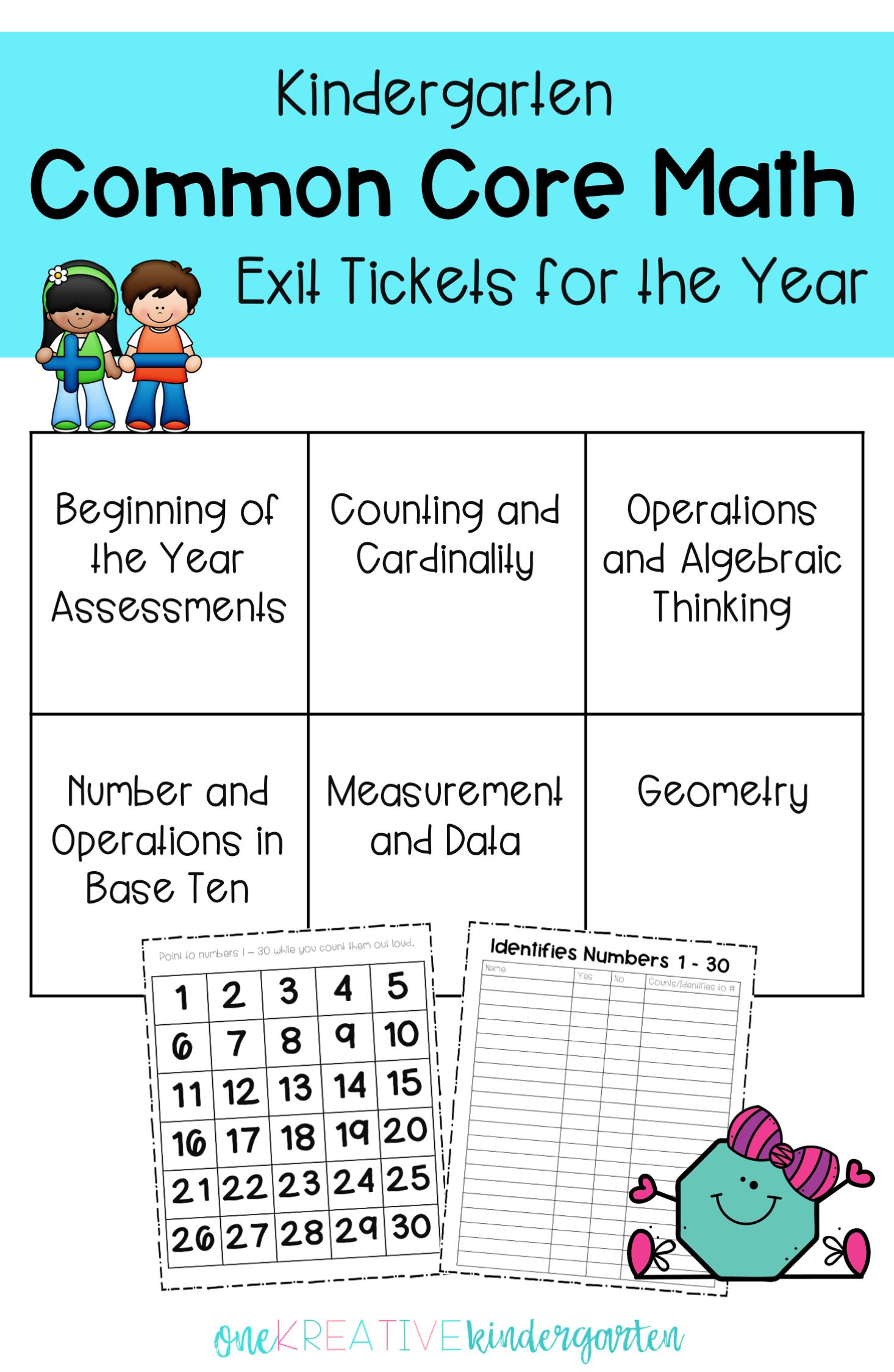Kindergarten Common Core Math Assessments For The Year