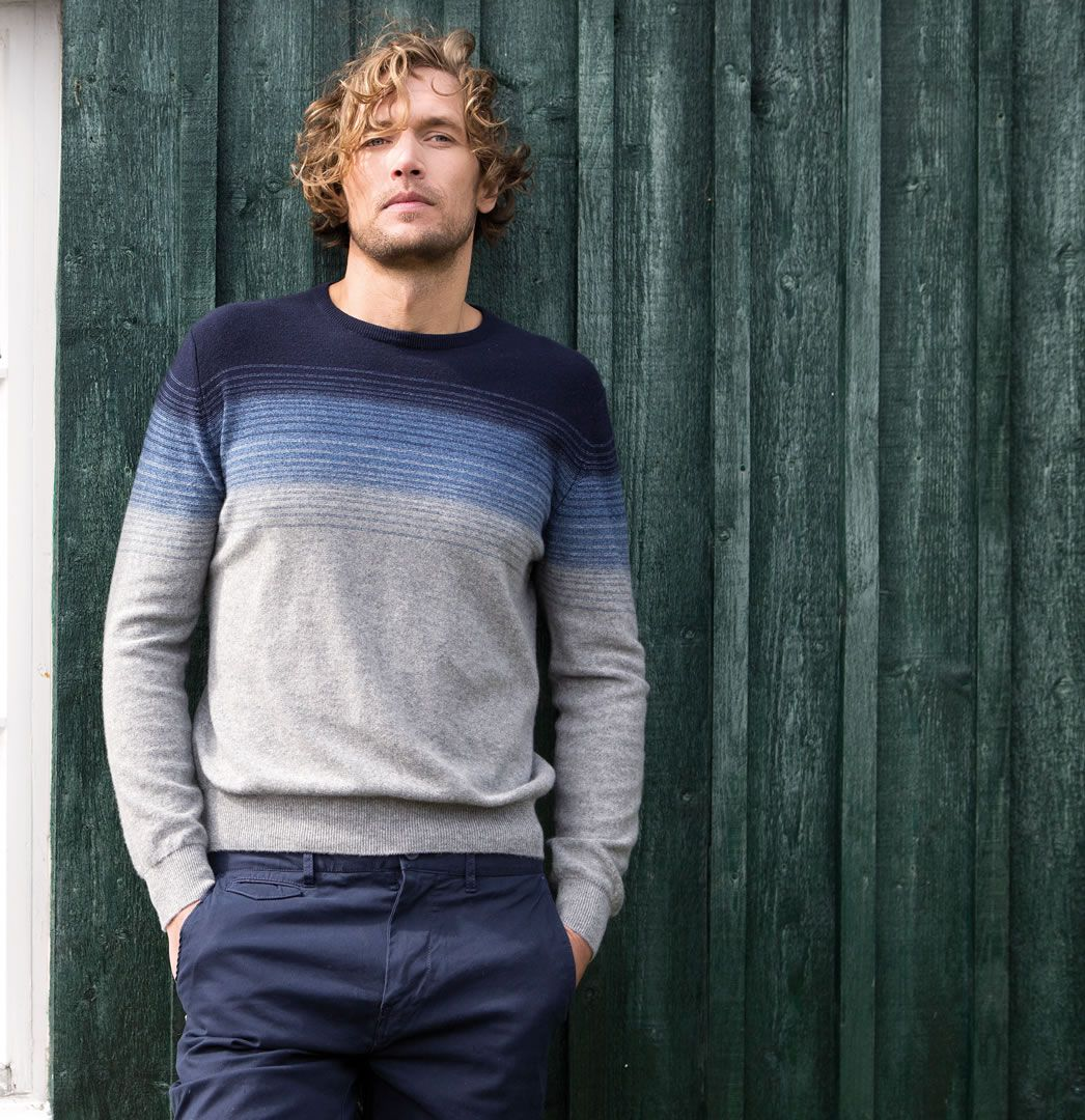 Cashmere ombre stripe sweater in light grey ombre, Johnstons of Elgin SS16