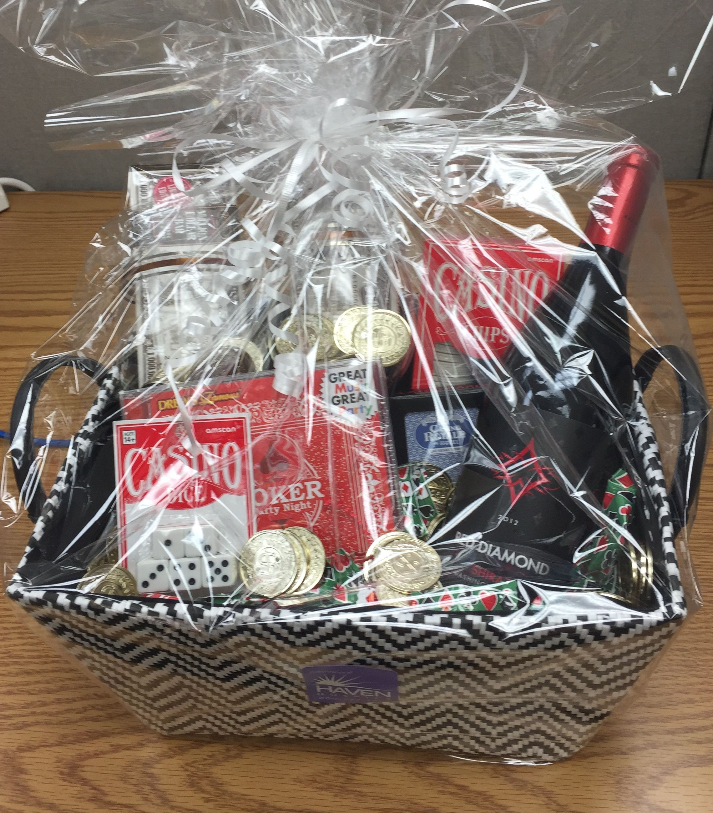 Casino night door prize gift basket red diamond shiraz for Idea for door gift