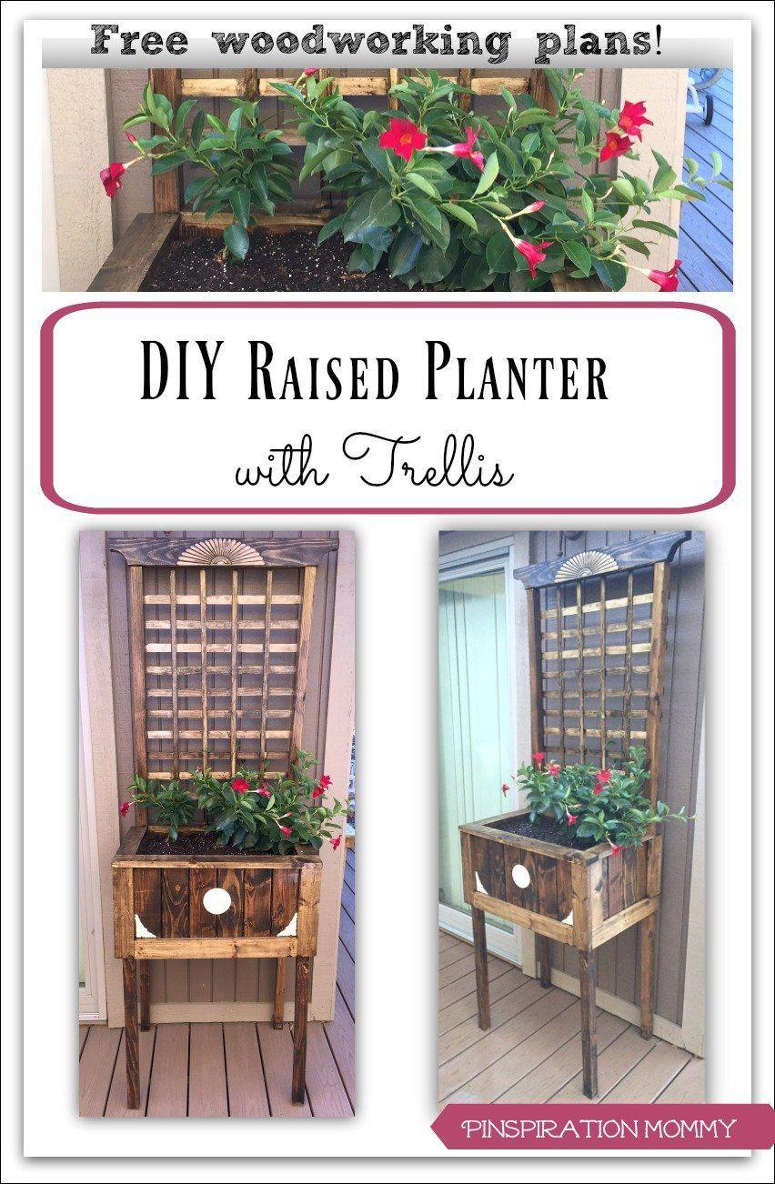 DIY Raised Planter with Trellis Free woodworking plans