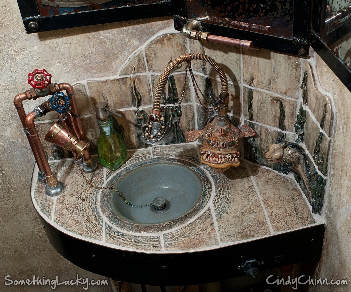 Steampunk Sculpted Tile Sink And Vanity Steampunk Bathroom Steampunk Bathroom Decor Steampunk Kitchen [ 1200 x 1440 Pixel ]
