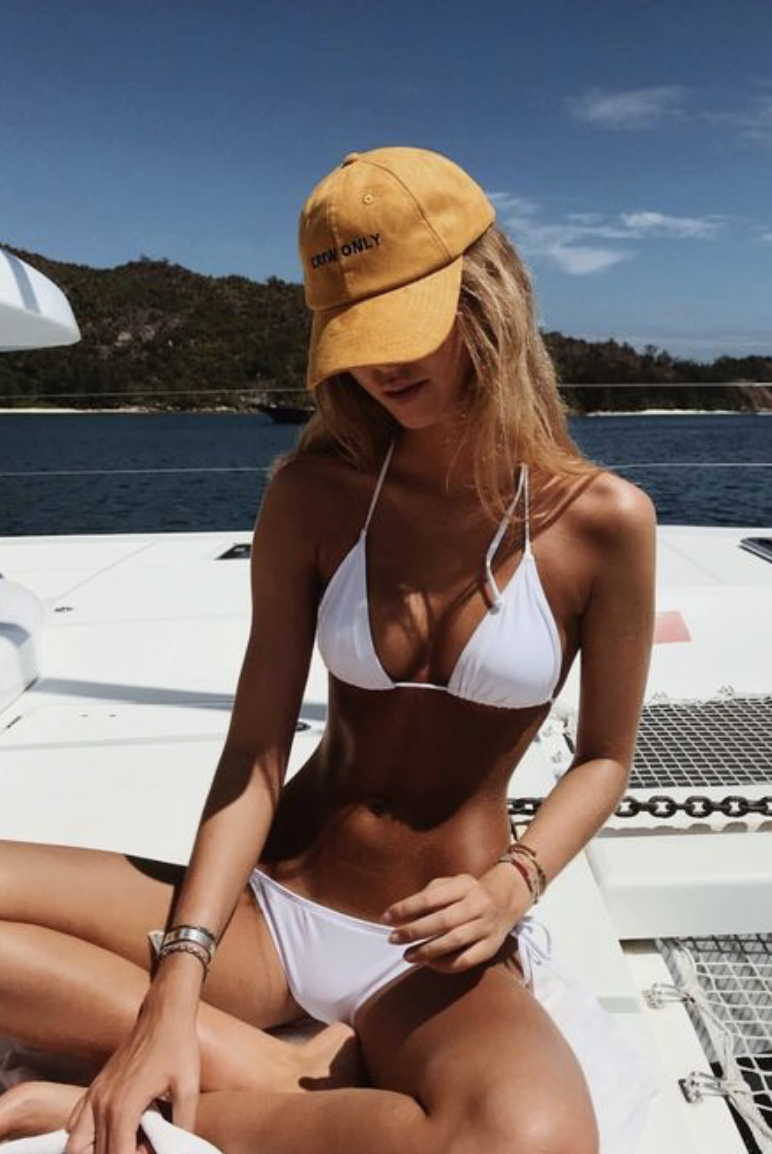 yellow baseball caps + white bikinis  e5854654cfda