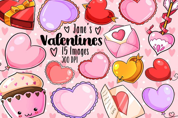 Kawaii Valentines Day Clipart 129670 Illustrations Design Bundles In 2021 Valentines Day Clipart Kawaii Valentine Valentines Day Drawing