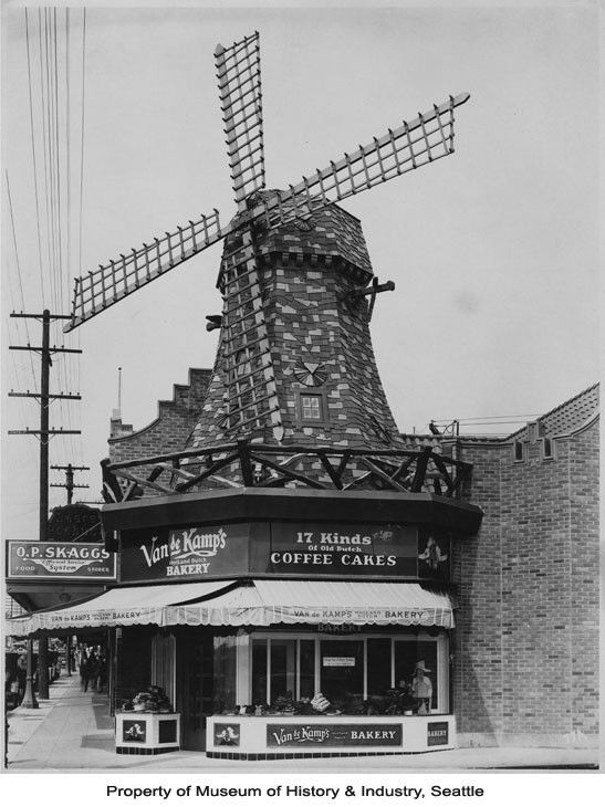 Van de Kamp's Bakery windmill-shaped building on Queen Anne hill, Seattle, ca. 1930