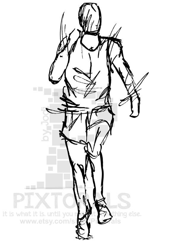 Track Field Runner Sketchy Eps File Vector And