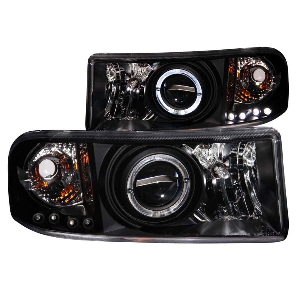 anzo 1994 2001 dodge ram projector headlights w halo black [ 1000 x 1000 Pixel ]