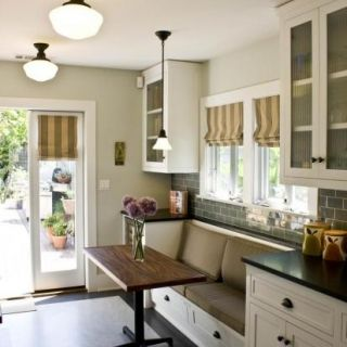 kitchen breakfast nooks with no room for a large eatin area this galley kitchen maximizes space with a builtin bench and super slim dining table