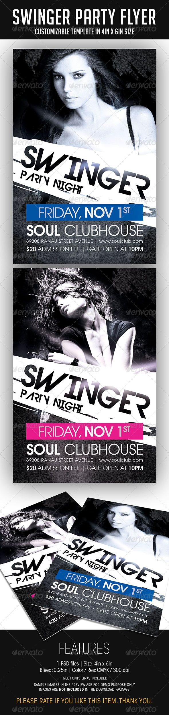 Swinger Party Flyer #GraphicRiver SWINGER PARTY FLYER FEATURES 1 PSD file • PSD Layers are well organized, grouped, and appropriately named Size: 4in x 6in (Portrait) Bleed: 0.25in Color: CMYK / 300 dpi