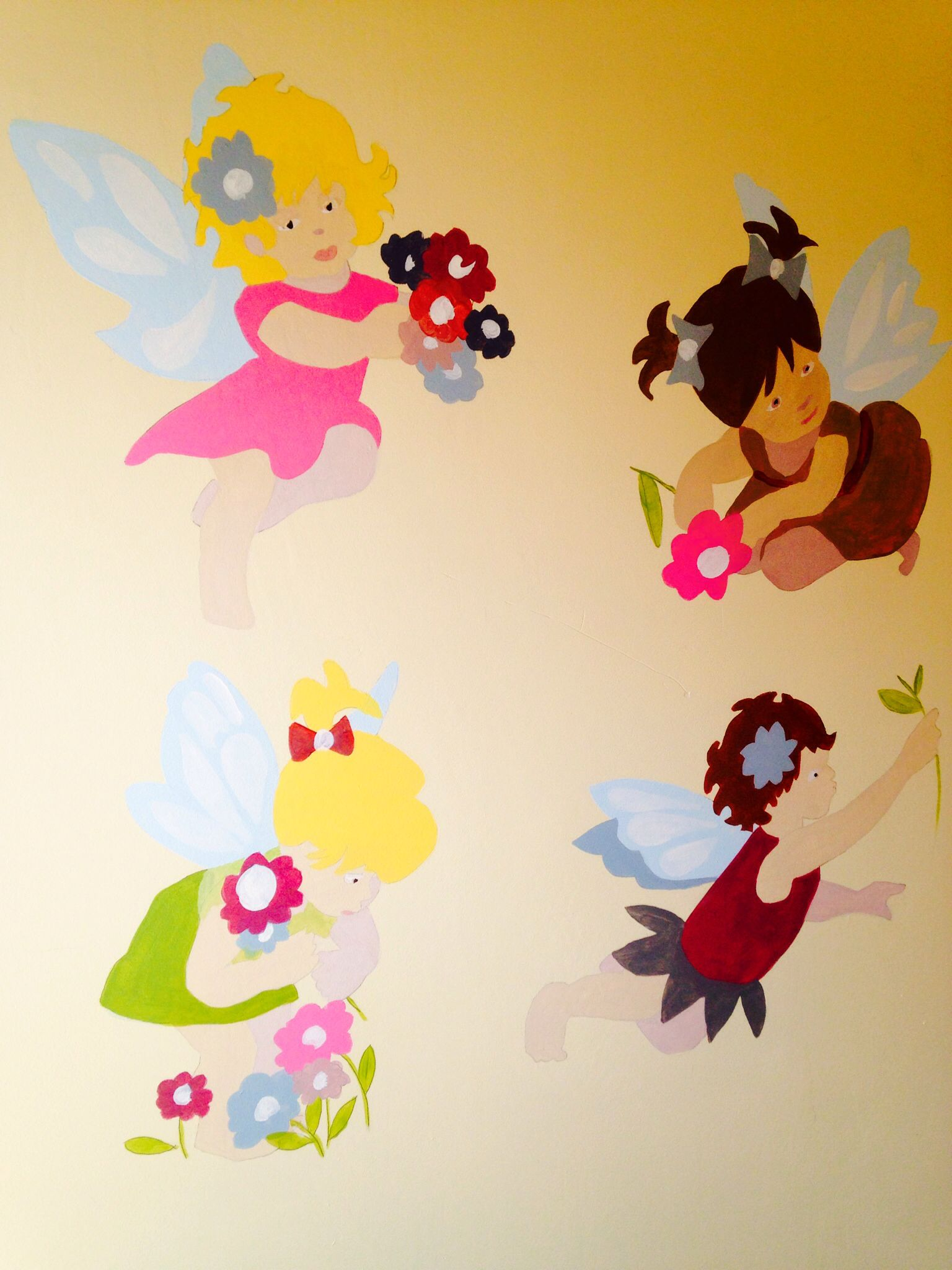 Calling all Fairies and little Angels!!!! Hand Painted Wall Mural in ...