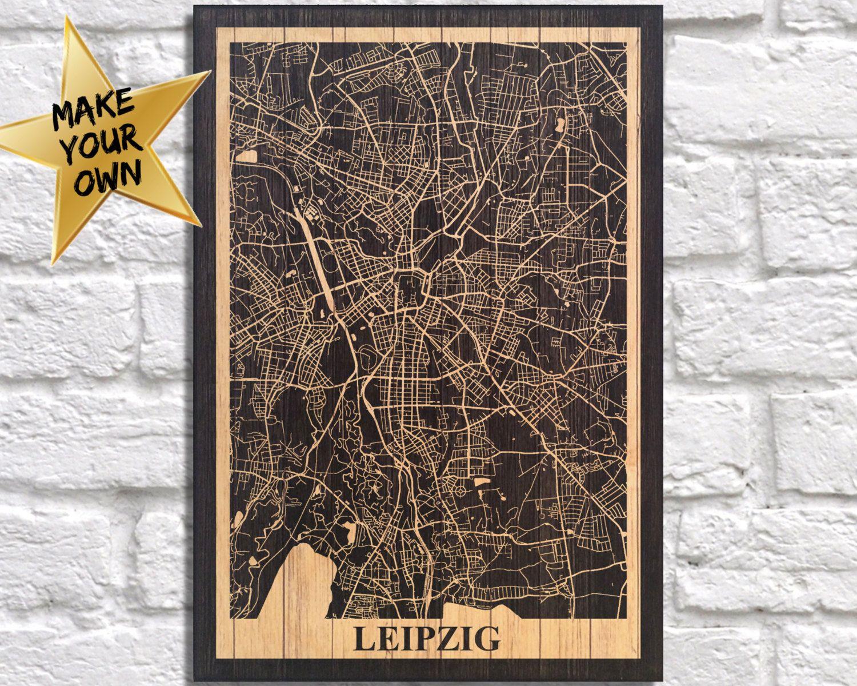 Leipzig city map travel art Wood art Wood wall art decor Dorm wall