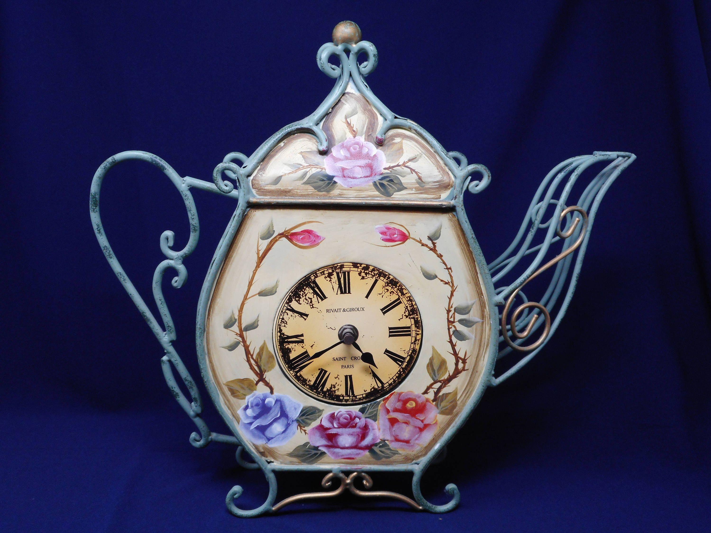 Metal Teapot Clock Kitchen Wall Clock Unique Teapot Wall Decor Clock