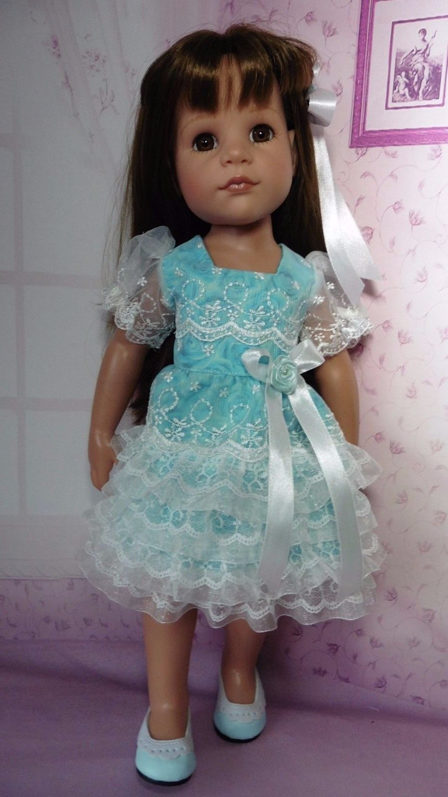 PIXIES HAND MADE PARTY DRESS fits 18 in SLIM DOLLS. like GOTZ HANNAH ...