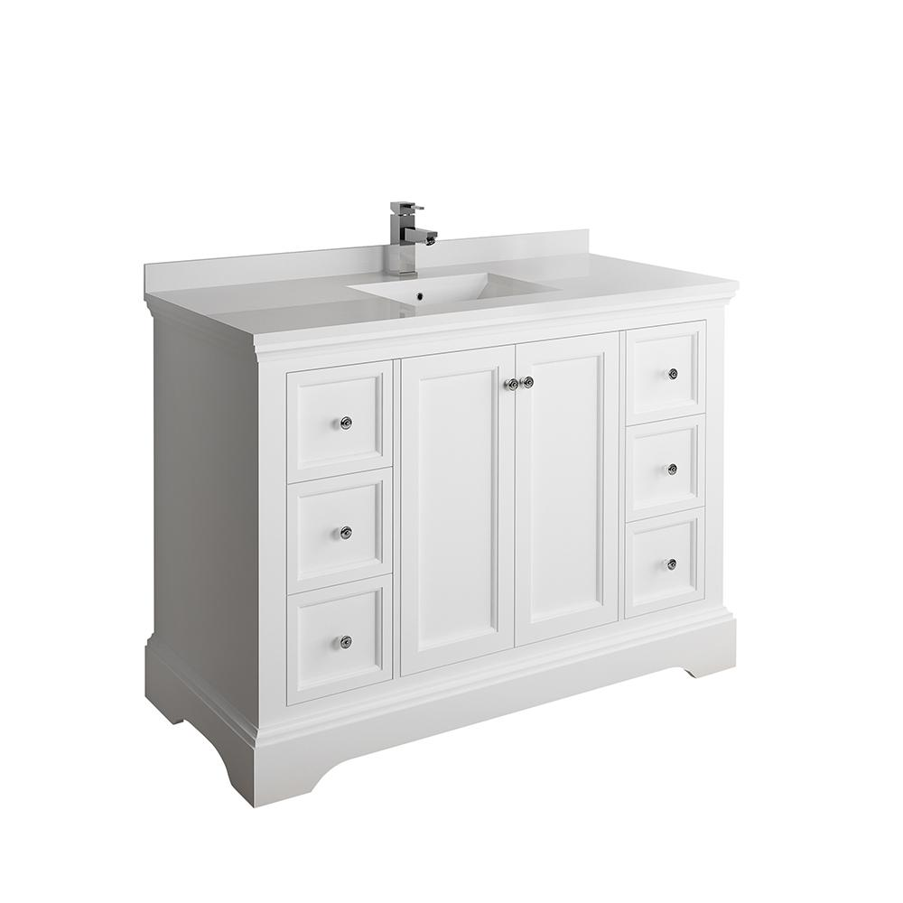 Fresca Windsor 48 In W Traditional Bathroom Vanity In Matte White