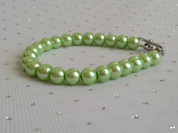 Light Green Pearl Bracelet, Bridesmaid Jewelry, Light Green Wedding, Mint Green Jewelry, Lime Green Jewelry on Etsy, $14.00