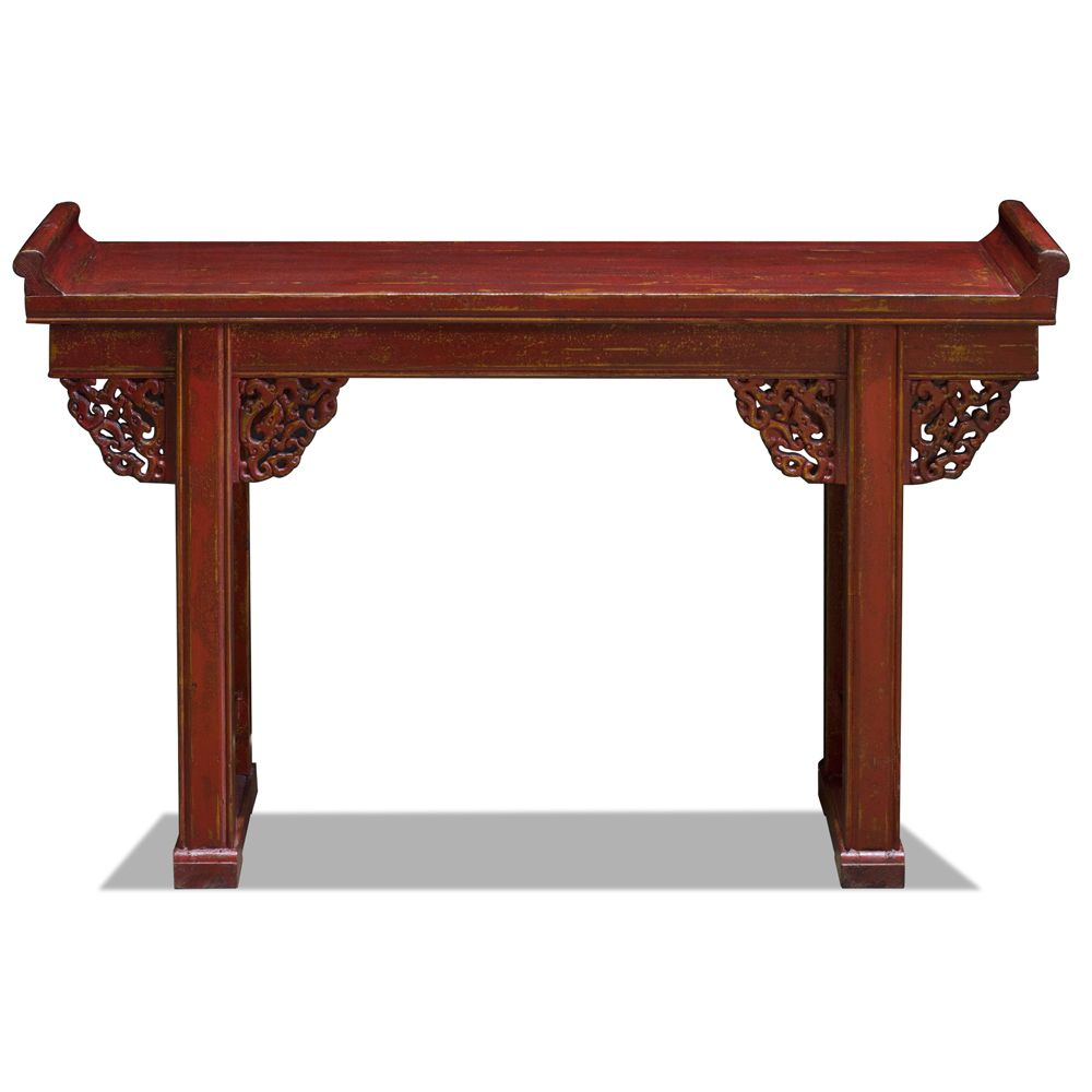 Vintage Red Elmwood Cloud Altar Console Table Chinese Style