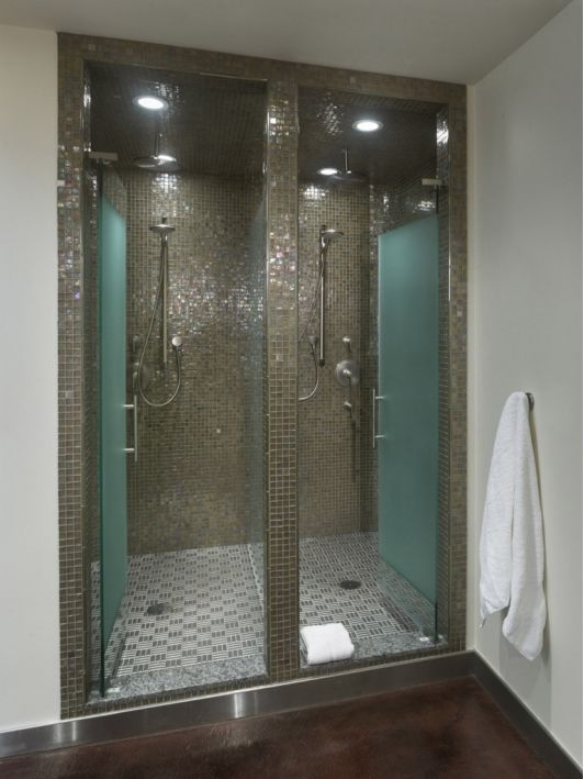 Bathroom design ideas including double shower with glass tiles