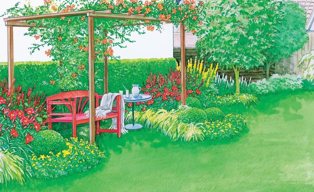 Umgeben von einer Pergola aus Holz, an der die orangerot blühende Trompetenblume (Campsis) emporrankt, sitzt man hier unter einem natürlichen Schattendach