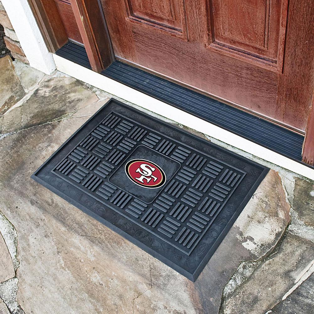 Officially Licensed NFL Team Logo Black Vinyl Door Mat by Sports Licensing Solutions - 49ers