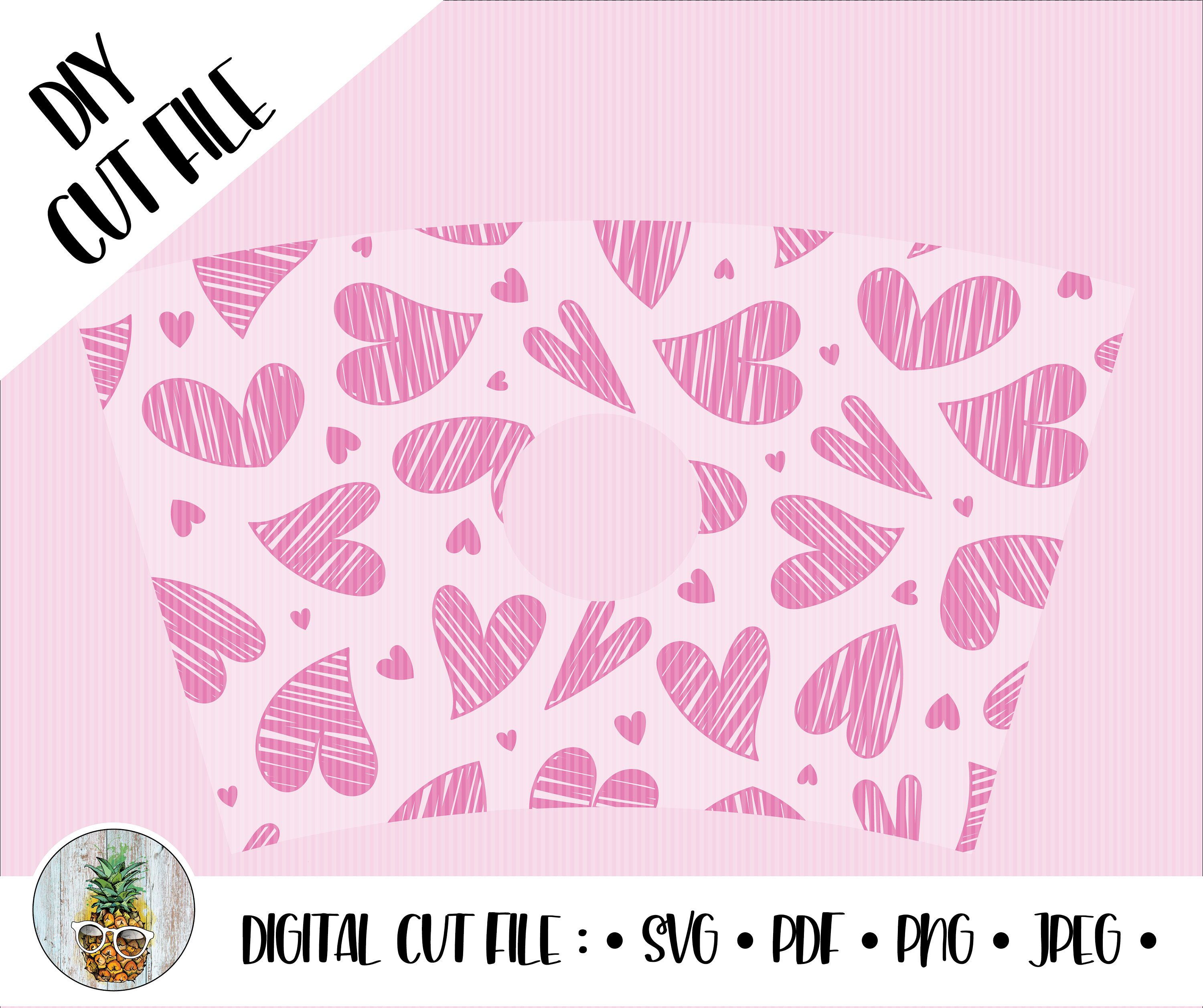 Doodled Hearts Starbucks Cup Wrap 24 oz. Cold Drink Cup