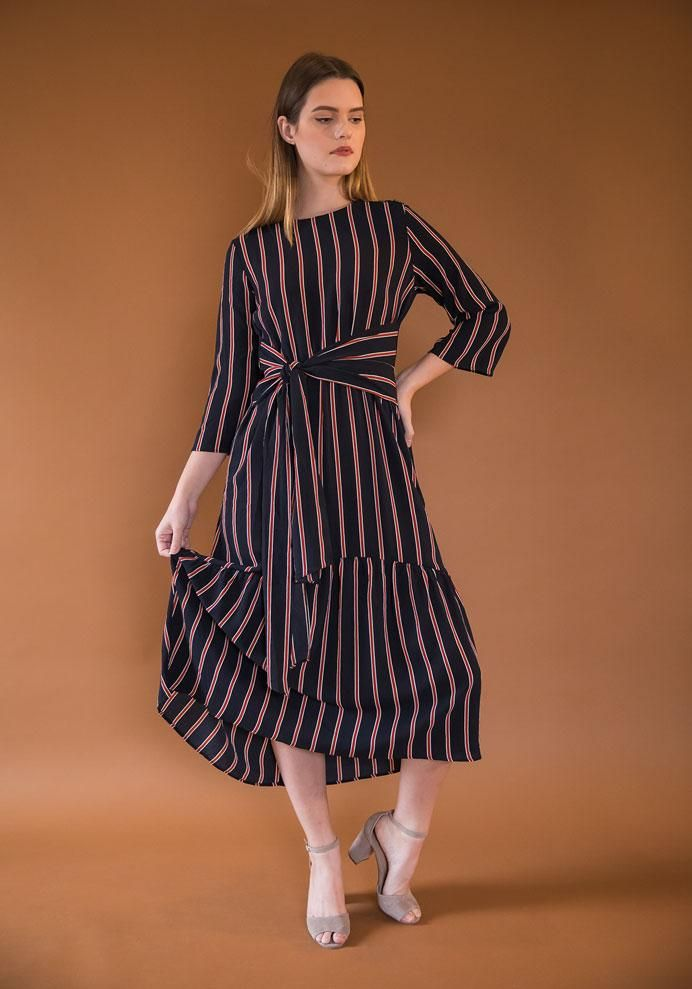 ab5da81a1334 Navy and Rust Striped Midi Dress in 2019 | Clothes and such ...