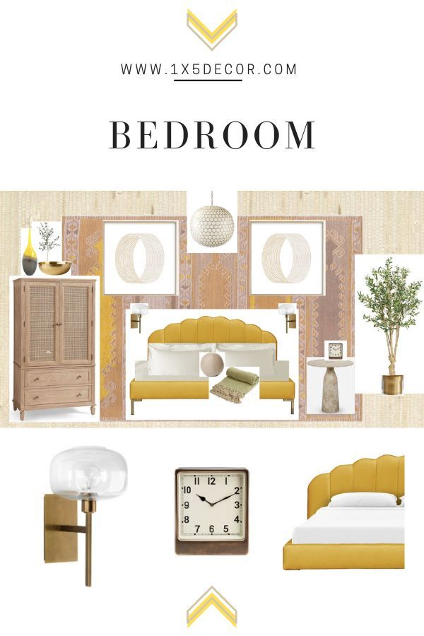old glammeetsboho This bedroom has a hint of glam with coastal and Boho touches Yellow serves as both a neutral and pop of color Great for a master bedroom a sophisticate...