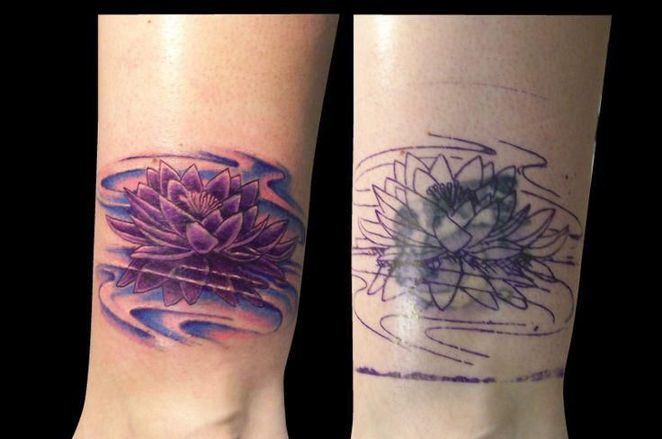 2ea24d256 Violet Lotus Cover Up tattoo design | watercolor | Up tattoos, Cover ...
