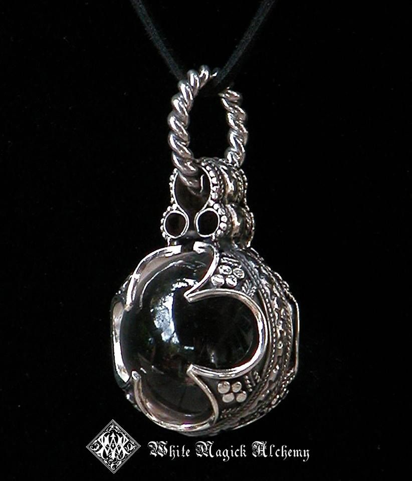 13th century magicians scrying ball pendant sterling silver and 13th century magicians scrying ball pendant sterling silver and crystal quartz by white magick alchemy aloadofball Image collections