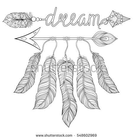 Indian Tribal Coloring Pages. Hand drawn American Indian style  zentangle illustration for adult coloring pages art therapy t shirt tribal print Boho chic ethnic dream Arrow with feathers catcher