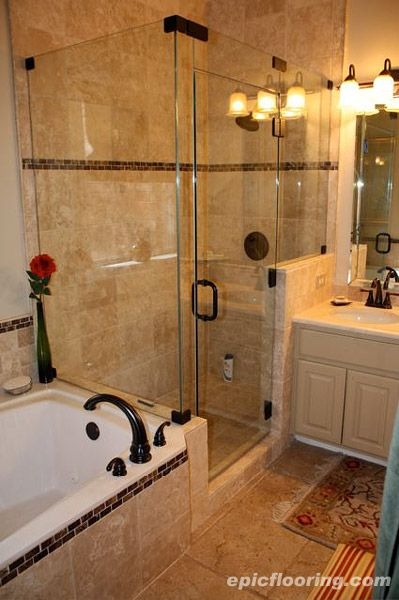Tile tub surround with dark inset pattern how to fit walk in shower ...